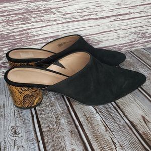 Anthropologie daphne black heeled mules size 8.5